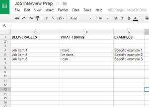 Job Prep Spreadsheet